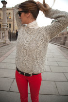 heather gray knit gestuz jumper - ivory turtleneck Cubus jumper