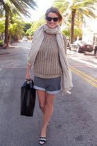 tan knitted IRO jumper - tan cashmere scarf - black leather bag Zara bag