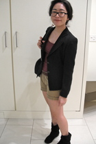 black Chanel blazer - brown belt - earrings - Jcrew shorts - purple Uniqlo shirt