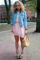 neutral asos skirt - light blue Zara jacket - ivory Zara top