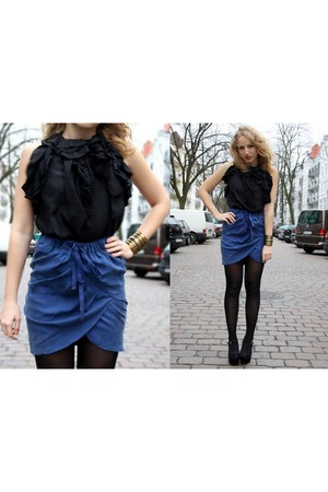 blue one touch skirt - black one touch top - black Primark heels