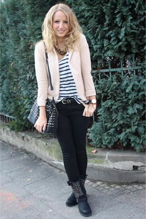 black Zara jeans - nude AX Paris blazer - navy Zara shirt