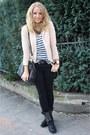 Black-zara-jeans-nude-ax-paris-blazer-navy-zara-shirt