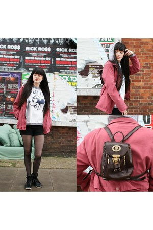 ruck sack vintage bag - BHS jacket - mickey mouse vintage t-shirt