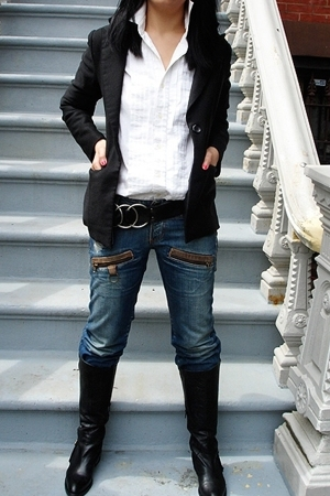 blazer - After Six - vintage belt - Cladestine boots - Miss Sixty jeans