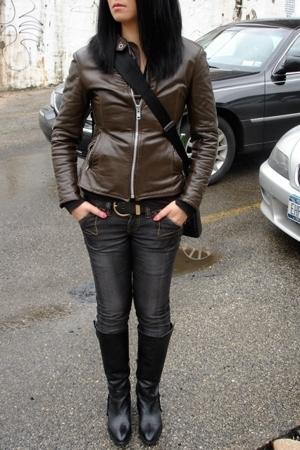 vintage jacket - G-Star jeans - Clandestine boots - vintage belt - Macbook pro 1