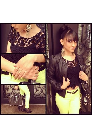 Expressions NYC purse - top - Forever 21 heels - Lulu Luv pants