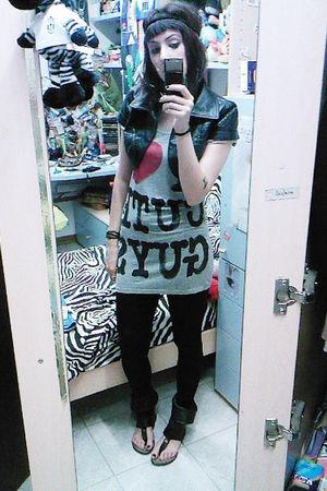 Zara shirt - Tally Wejl jacket - Zara leggings - Leather Sandals shoes