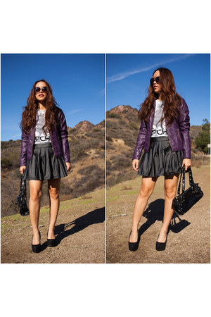 black studded bag Hammitt bag - purple faux leather George jacket