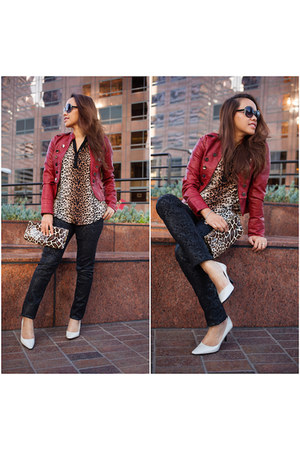 ruby red faux leather Forever 21 jacket