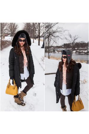black down coat 1 Madison coat - camel snow boots Totes boots