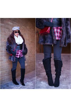 brick red mini bag Monsac bag - black houndstooth Charlotte Russe boots