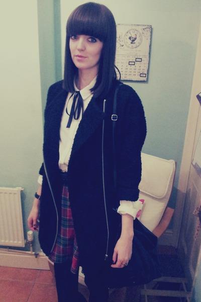 black Topshop coat - white Topshop shirt - black Urban Outfitters bag