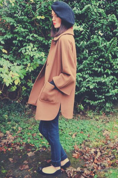 light brown vintage coat - navy Topshop jeans - black vintage hat