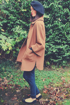 light brown vintage coat - navy Topshop jeans - black vintage hat