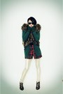 Dark-brown-forever-21-sweater-green-handmade-cardigan-red-forever-21-shorts-