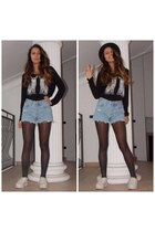 black H&M top - white Jeffrey Campbell shoes - blue Levis shorts