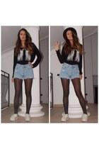 black H&M top - white Jeffrey Campbell shoes - blue Levis shorts