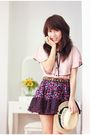 Pink-monton-top-purple-forever-21-skirt-yellow-forever-21-hat