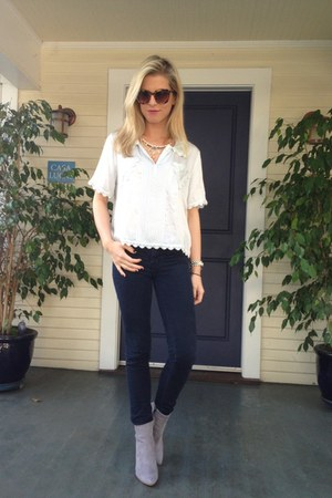 Topshop blouse - H&M boots - Marc by Marc Jacobs watch - Anthropologie necklace