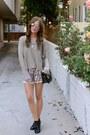 Shoedazzle-boots-knit-lf-sweater-vintage-purse-silk-lace-zara-shorts