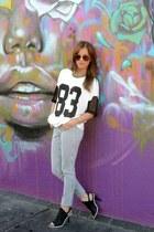 H&M purse - jersey Shop Joa shirt - Shop Joa heels - H&M necklace