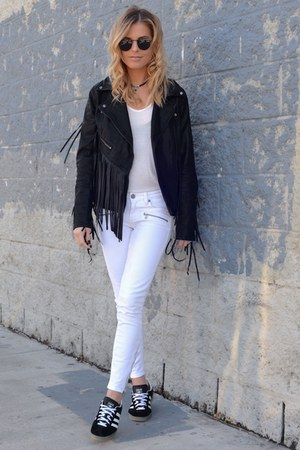 Blank Denim jacket - black white Paige Denim jeans - Quay Australia sunglasses
