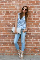 floral Shop Joa top - strappy Aldo shoes - light wash Zara jeans