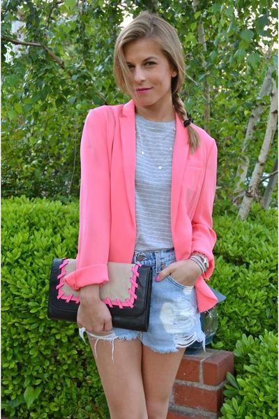 neon Diane Von Furstenberg blazer - milly purse - Levis shorts