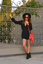 suede red JD Luxe purse - patent leather Zara boots - nastygal hat
