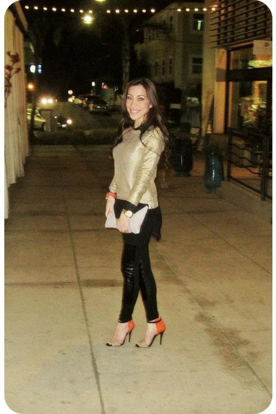 gold H&M sweater - black H&M leggings - black H&M blouse - Zara heels