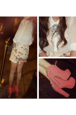 spikes boots - floral H&M shorts - floral bandeau H&M top - polkadots f21 blouse