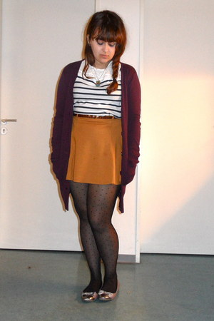 black spotted new look tights - mustard asos skirt - navy striped H&M top - mage