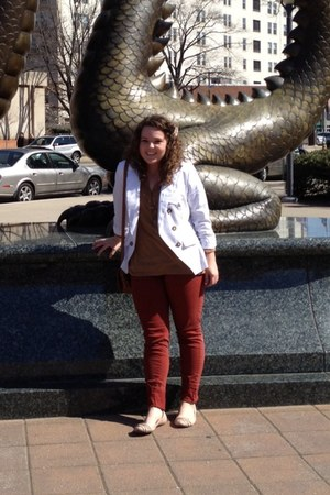 tawny denim LA Fire pants - white structured Charlotte Russe blazer