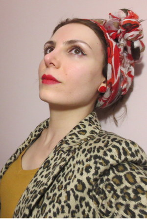 leopard Koton jacket - floral Vakko scarf - Bershka bag - Bershka blouse