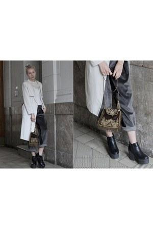 charcoal gray Dawid Tomaszewski panties - black asos boots - beige H&M coat