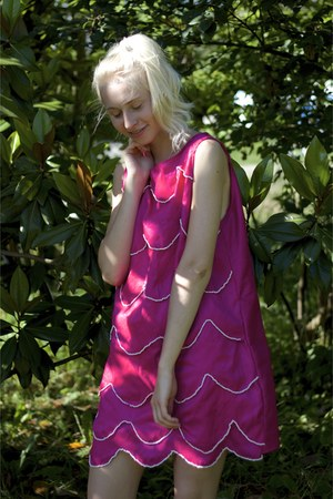 hot pink silk handmade dress