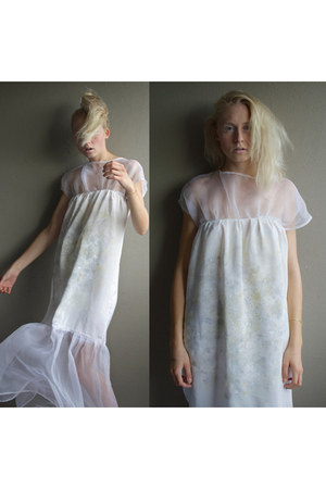 off white silk handmade dress
