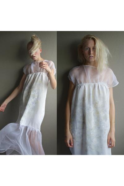 off white silk handmade dress