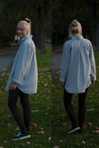 white LinnaeDesign blouse - black Vans sneakers
