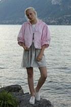 sky blue silk and cotton handmade dress - pink silk handmade jacket