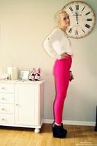 heels - shirt - tights