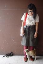 top - skirt - calvin klein shoes - krispy kreme purse