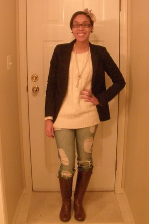 joe fresh style sweater - Mossimo blazer - Suzy Shier boots - garage jeans