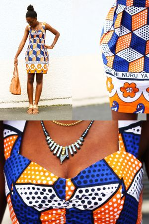 orange asos africa dress - gold dune shoes