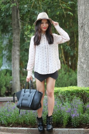 peach print blouse Club Monaco shirt - black studded asos boots
