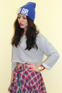 Blue-j-brand-shorts-hot-pink-flannel-plaid-uniqlo-shirt