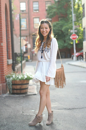 white bohemian H&M dress - brown booties Jeffrey Campbell boots