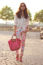 floral print Zara pants - H&amp;M shirt - hot pink longchamp bag