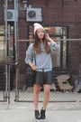 Black-booties-jeffrey-campbell-boots-light-pink-beanie-american-apparel-hat